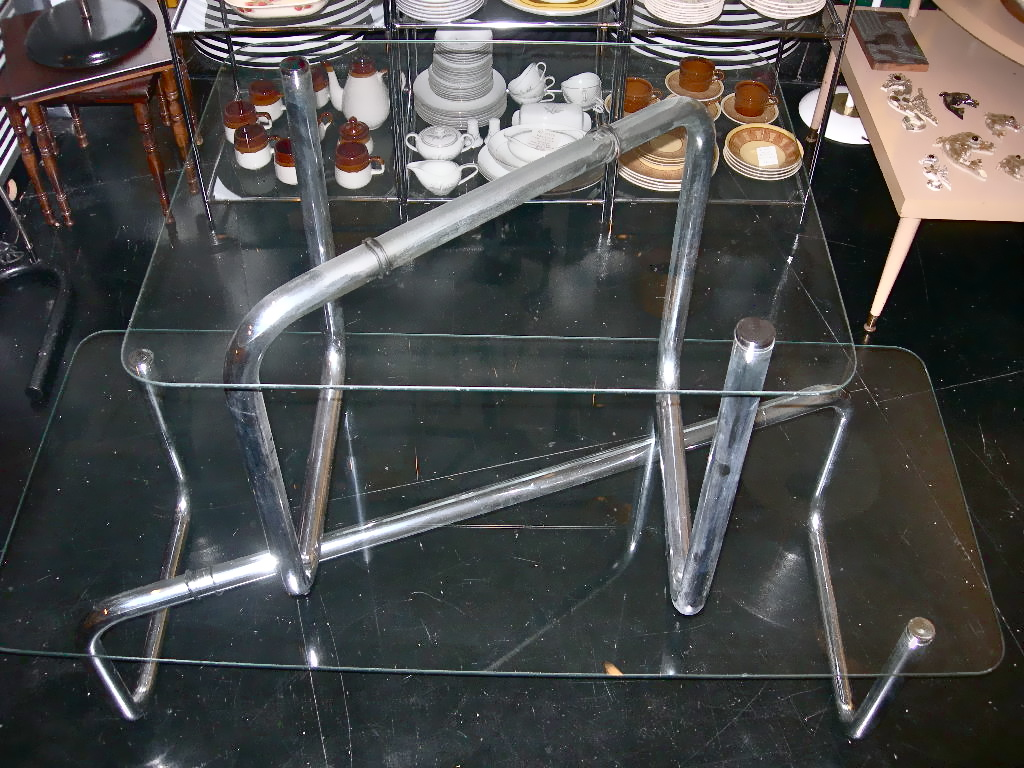 Vintage glass & chrome tube coffee table & matching accent table, $225