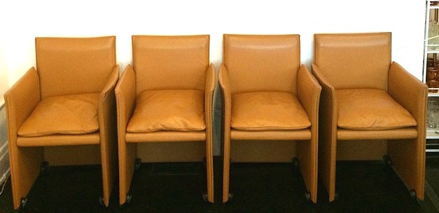 Vintage Italian Mario Bellini for Cassina leather chairs on casters, set of 4, SOLD