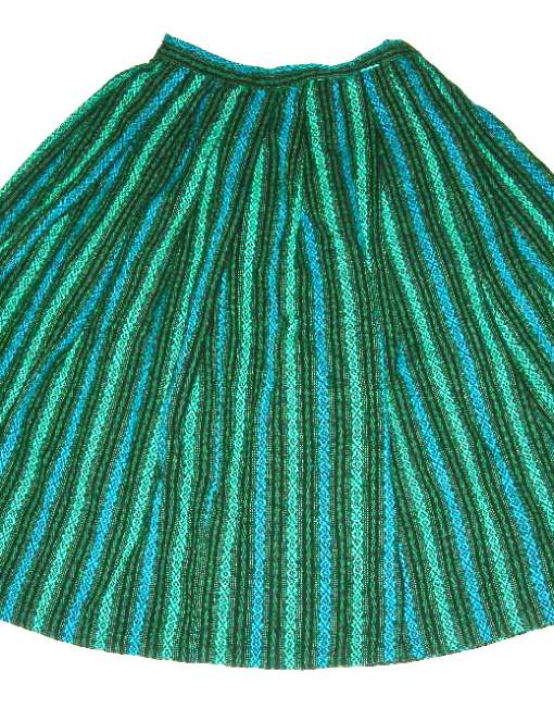 vintage blue green woven stripe skirt nvision