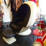 1970 Lee West egg chair + ottoman with built-in working speaker soundsystem, SOLD