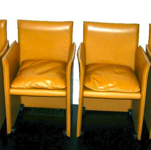 Vintage Italian Mario Bellini for Cassina leather chairs on casters, $700/pair