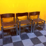 Set of 3 vintage chrome and brown vinyl chairs, $125