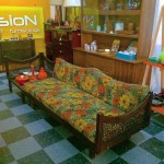 Vintage daybed sofa with detached corner table, SOLD