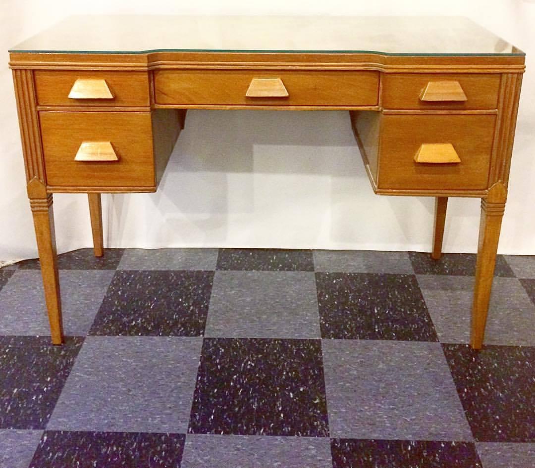 Vintage desk w/glass top, SOLD
