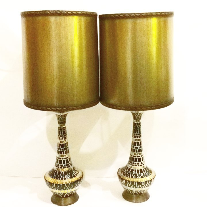 Vintage mosaic lamps with metallic shades, SOLD