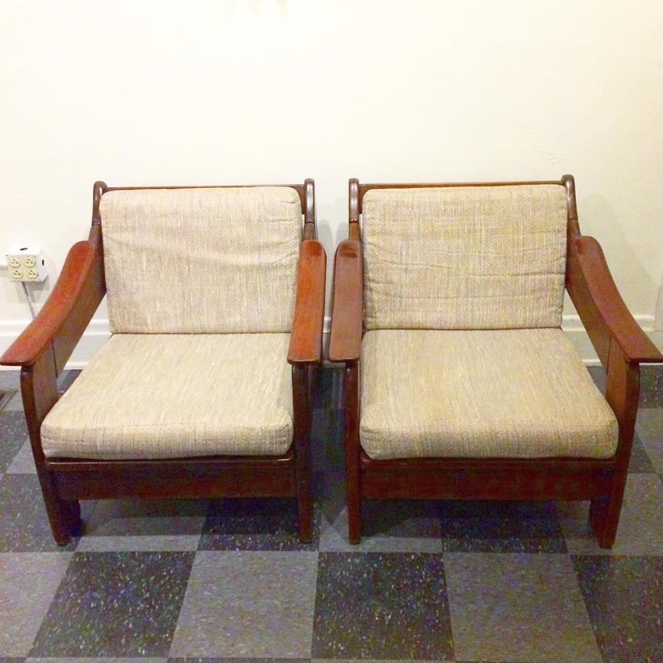 Pair of vintage wood frame lounge chairs, SOLD