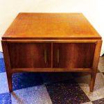 Vintage Lane Rhythm series solid wood table with cabinet doors, $200
