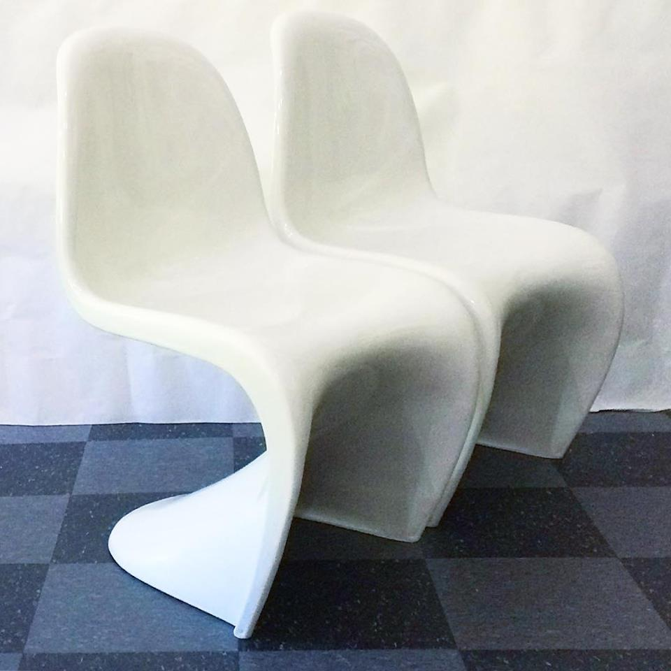 Pair of modern molded plastic chairs in the style of the classic MCM Panton chair, $100/pair