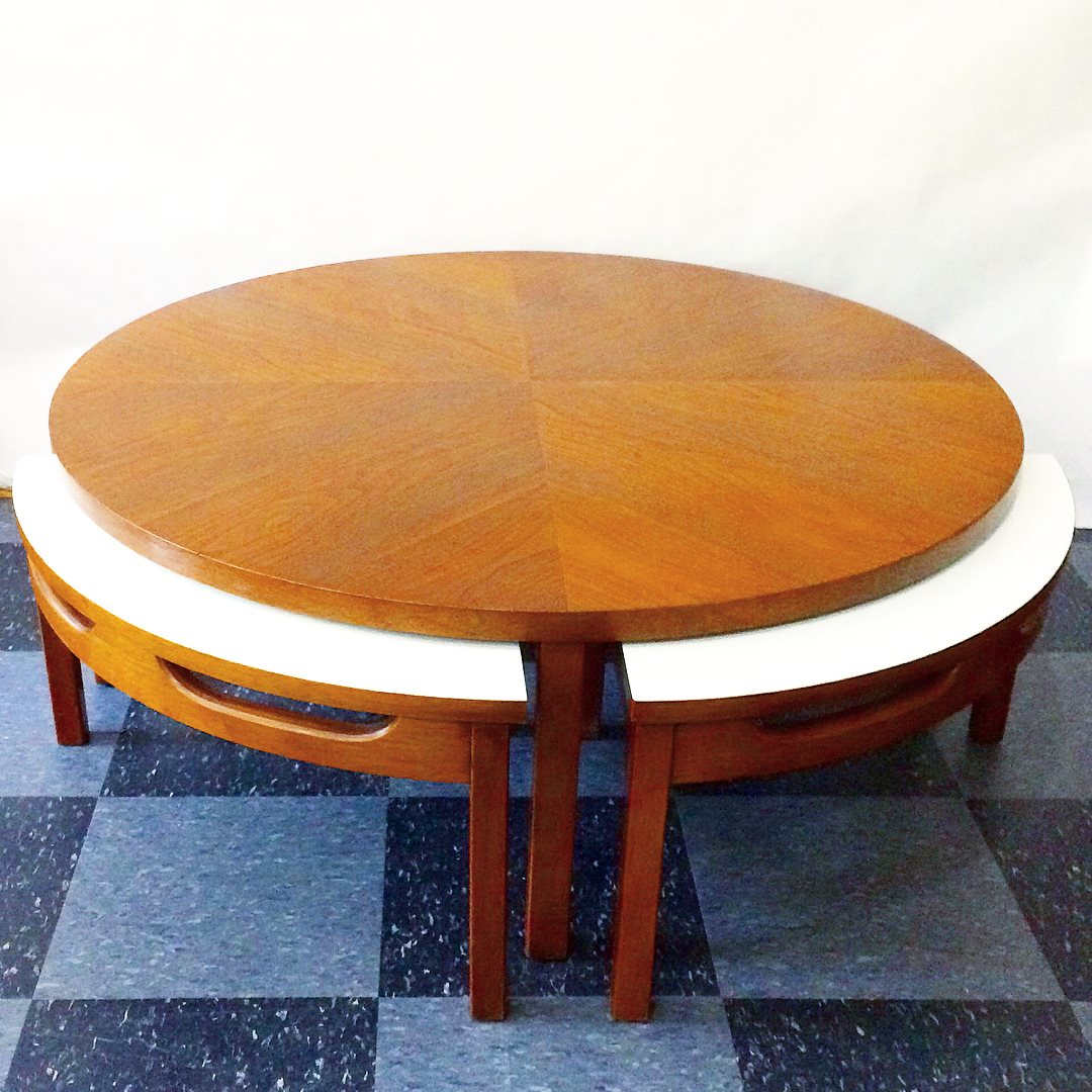 Vintage quartered coffee table with 4 hideaway tables (shown here with hideaway tables peeking out), $275