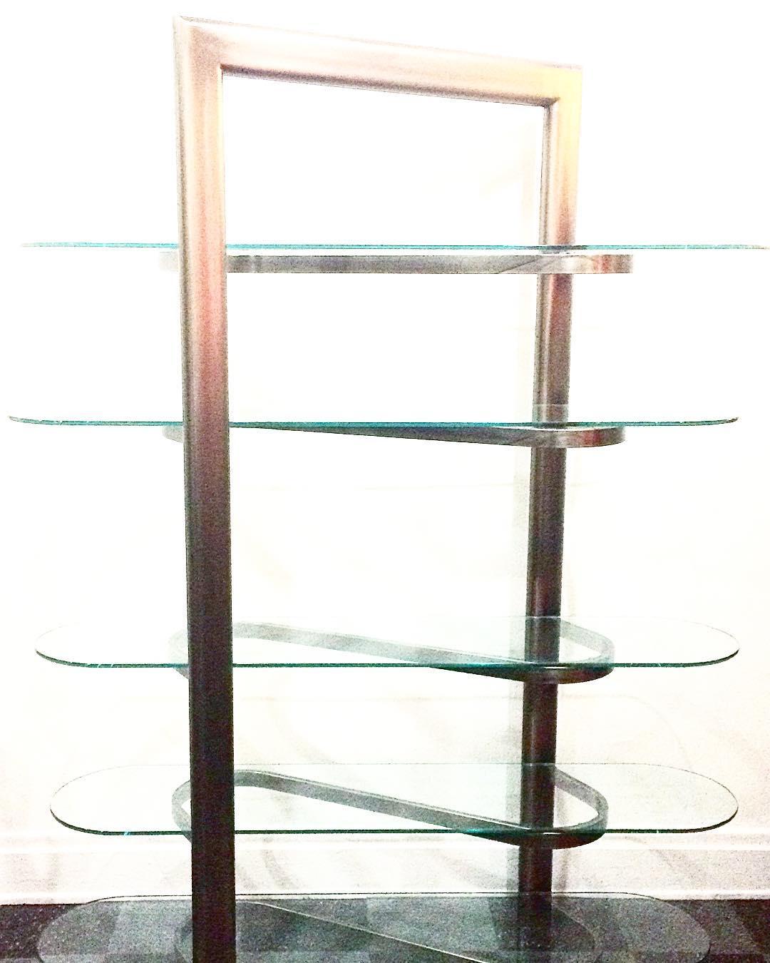 Modern ribbon shelf, brushed aluminum & glass, $400