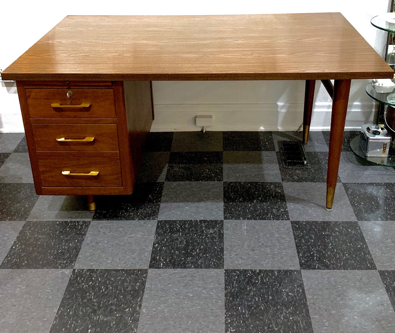 Nice big vintage desk with 5' x 3' of easy-to-clean workspace, $250