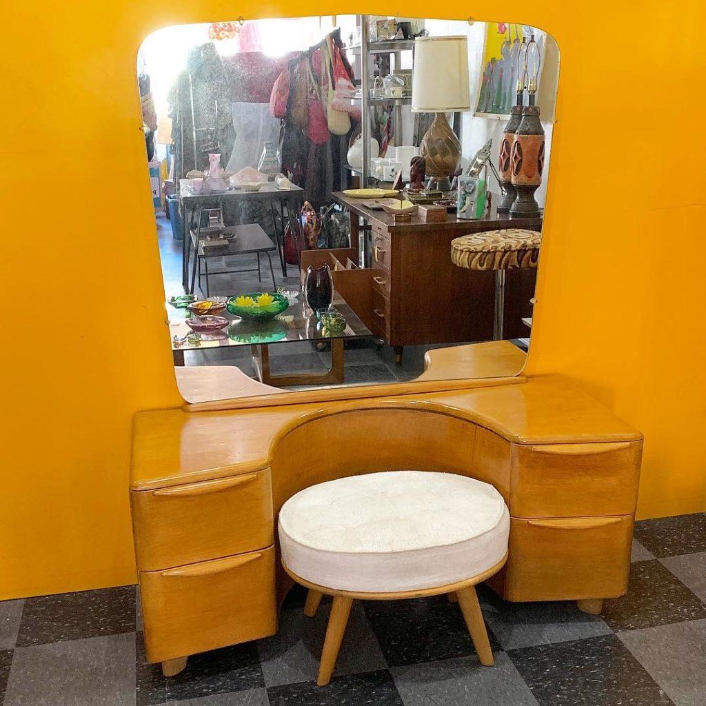 Vintage Heywood Wakefield vanity with original stool, SOLD