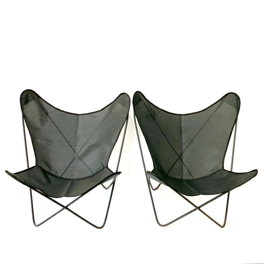 Pair of vintage Hardoy iron butterfly chairs for Knoll, black vinyl covers, $450/pair