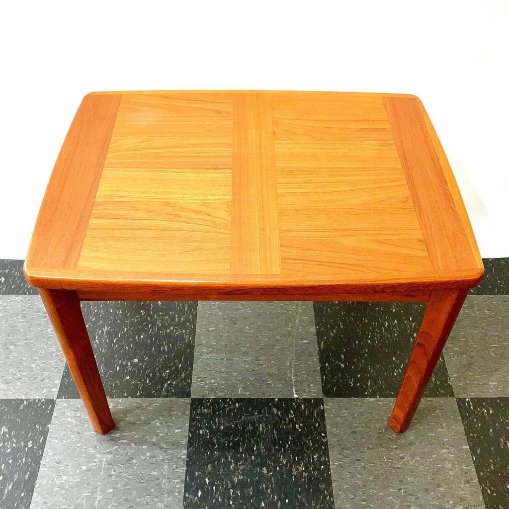 """Vintage side table stamped """"Made in Denmark by A. B. J."""", SOLD"""