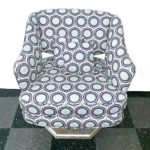 vintage swivel chair, reupholstered in nice mod fabric in blues and grays, with matching little pillows, $100
