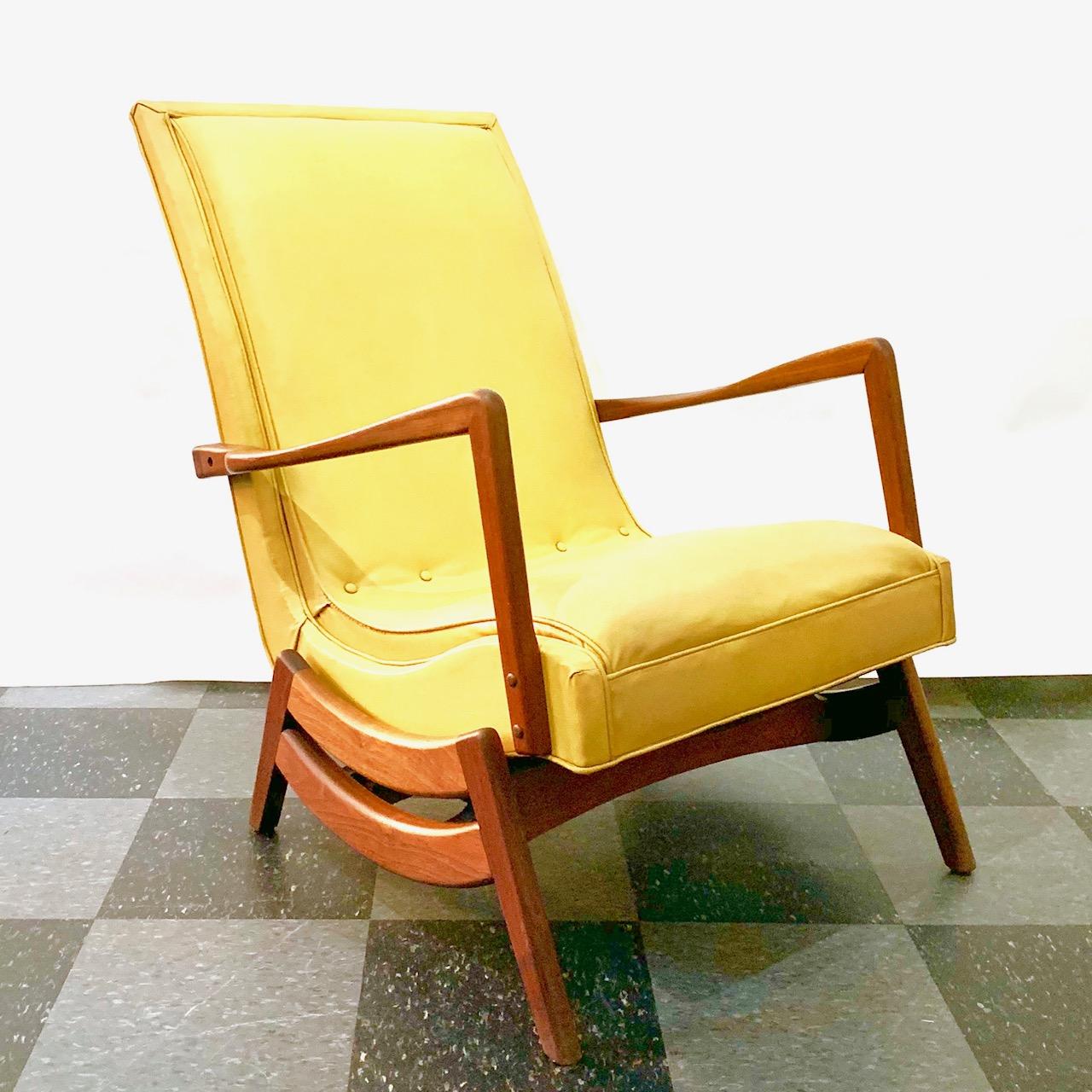 Vintage teak frame rocking chair, gold vinyl upholstery, SOLD