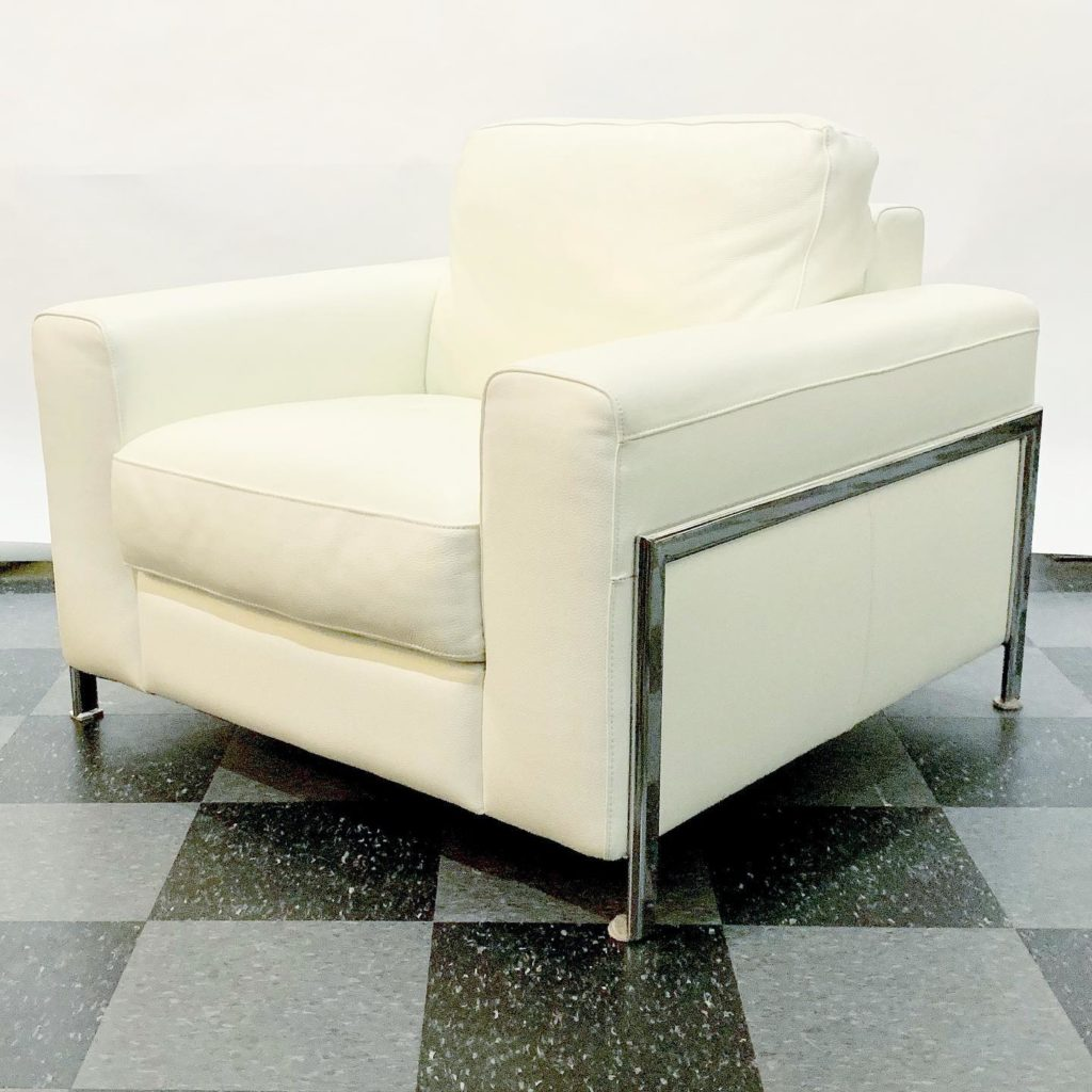 Contemporary white leather & chrome frame chair (& sofa), $1200/set