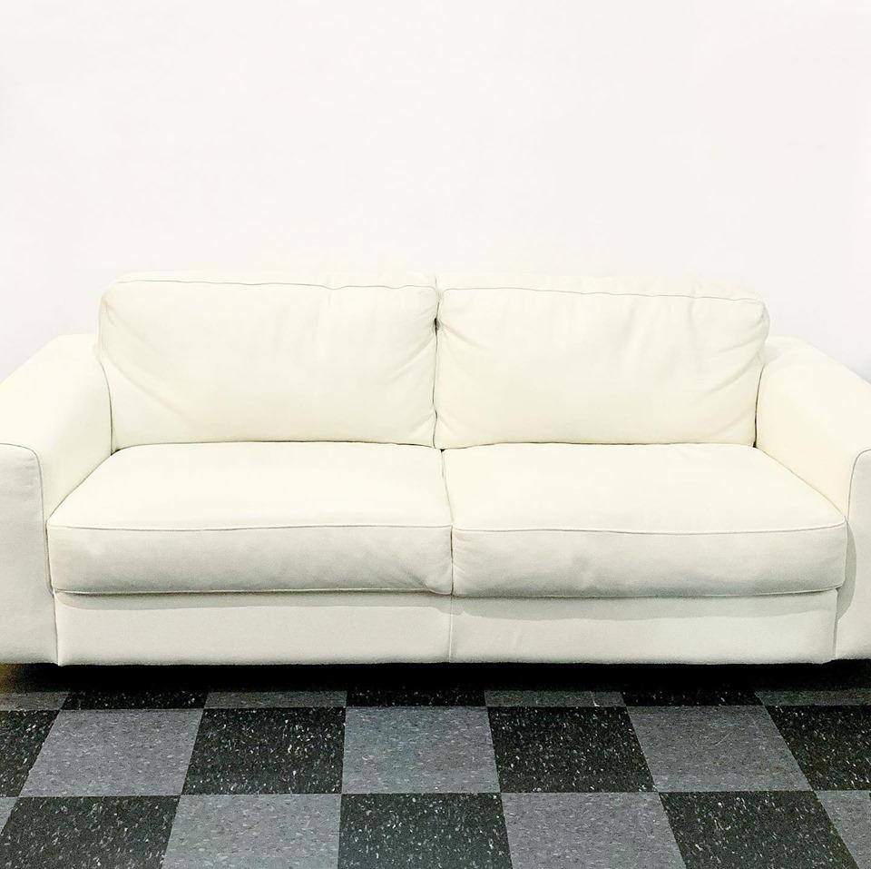 Contemporary white leather & chrome frame sofa (& chair), $1200/set
