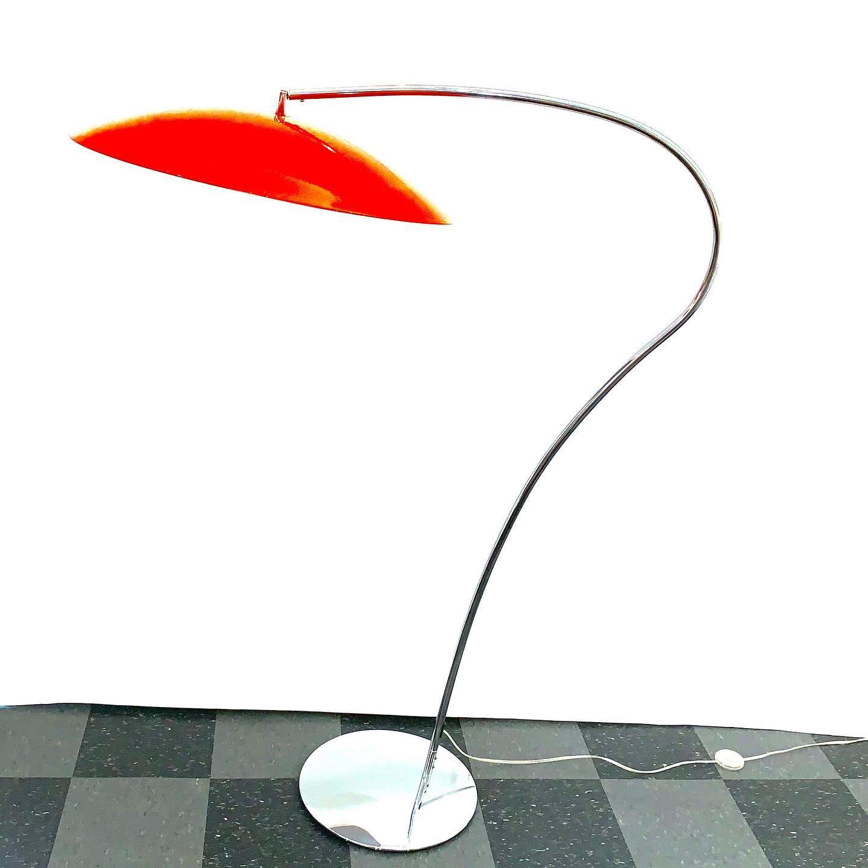 Big bright orange saucer gooseneck floor lamp, $120