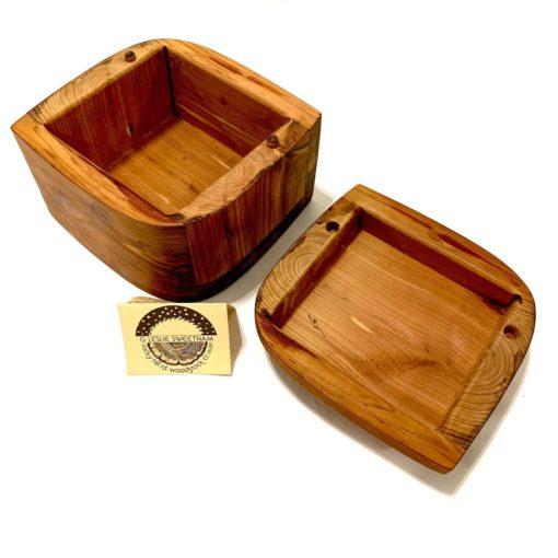 Handmade lidded wood box, detail