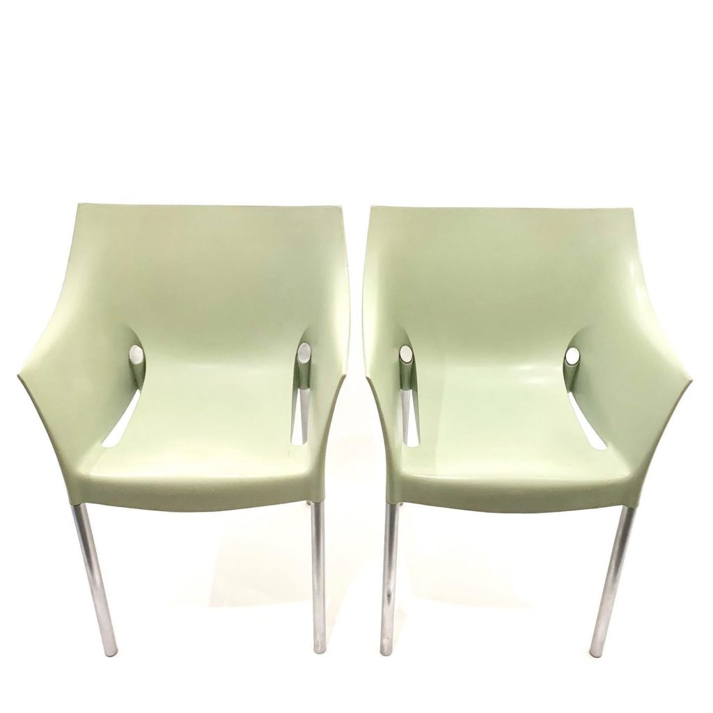 Pair of fennel green armchairs, Dr. No by Philippe Starck for Kartell, SOLD