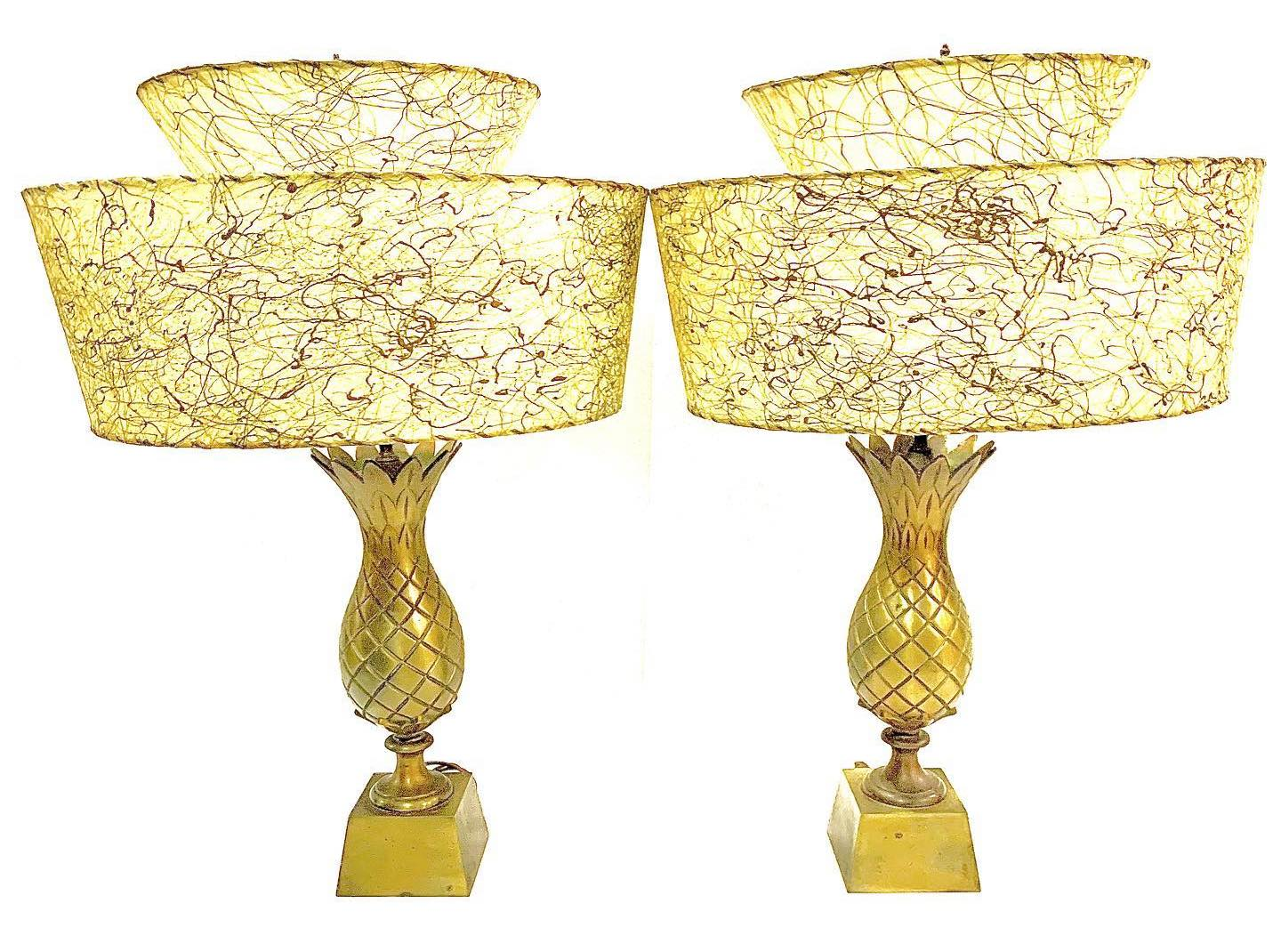 Pair of vintage brass pineapple lamps with two-tier fiberglass shades