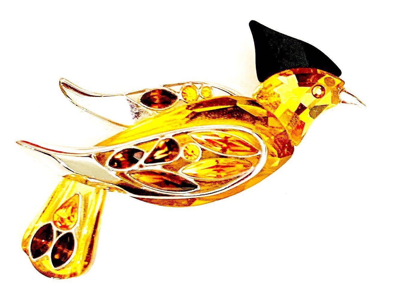 Vintage Swarovski Crystal bird brooch set in sterling silver