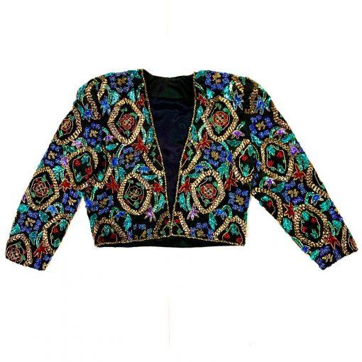Vintage heavily beaded satin bolero jacket