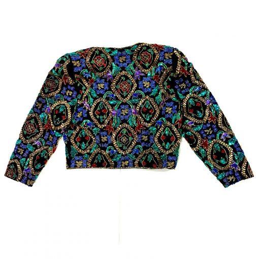 Vintage heavily beaded satin bolero jacket, back