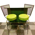 Vintage iron frame bar by Frederick Weinberg, with matching stools, textured lime green vinyl upholstery