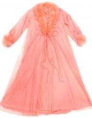 Romantic 2-piece vintage peignoir set, silky sheer coral pink nylon chiffon, marabou trim
