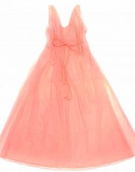 Romantic 2-piece vintage peignoir set, silky sheer coral pink nylon chiffon, marabou trim robe