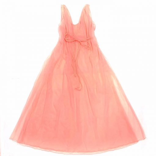 Romantic 2-piece vintage peignoir set, silky sheer coral pink nylon chiffon, marabou trim robe