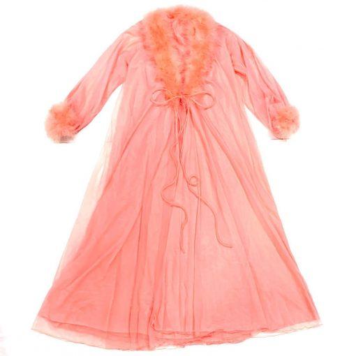 Romantic 2-piece vintage peignoir set, silky sheer coral pink nylon chiffon, marabou trim