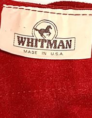 Whitman red suede fringed zip-up chaps, detail