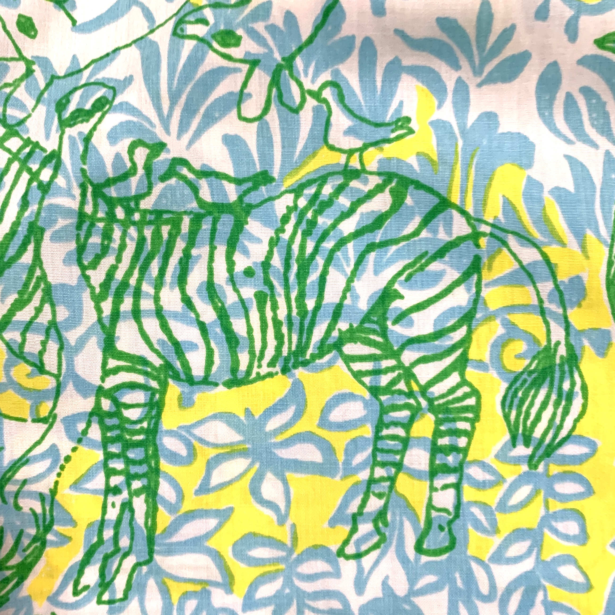 Vintage Lilly Pulitzer skirt, Safari by Zuzek Key West fabric, detail