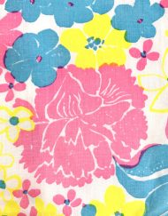 Vintage Lilly Pulitzer skirt, pink/blue/yellow floral, detail