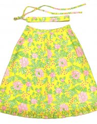 Vintage Lilly Pulitzer skirt, pink/yellow/green/white floral fabric
