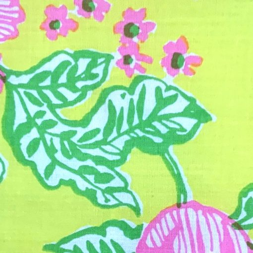 Vintage Lilly Pulitzer skirt, pink/yellow/green/white floral fabric, detail
