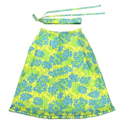 Vintage Lilly Pulitzer skirt, yellow/blue/green floral fabric