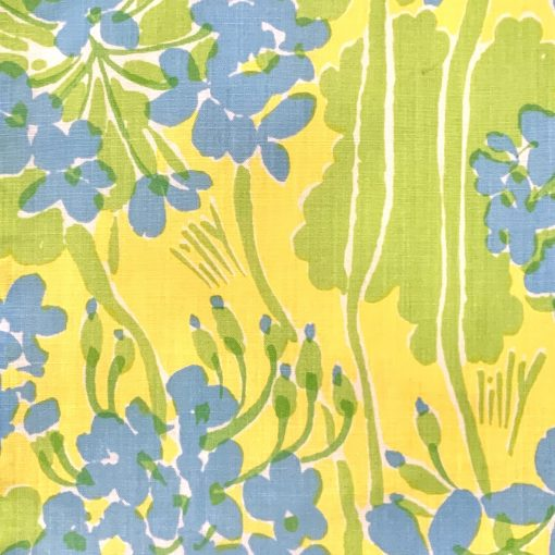 Vintage Lilly Pulitzer skirt, yellow/blue/green floral fabric, detail