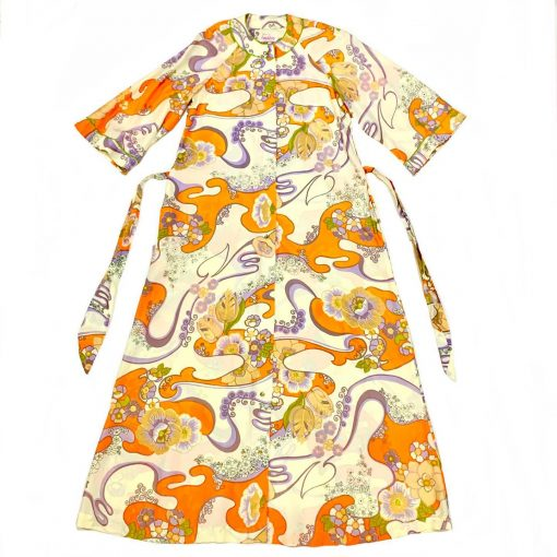 Vintage Evelyn Pearson psychedelic floral housecoat