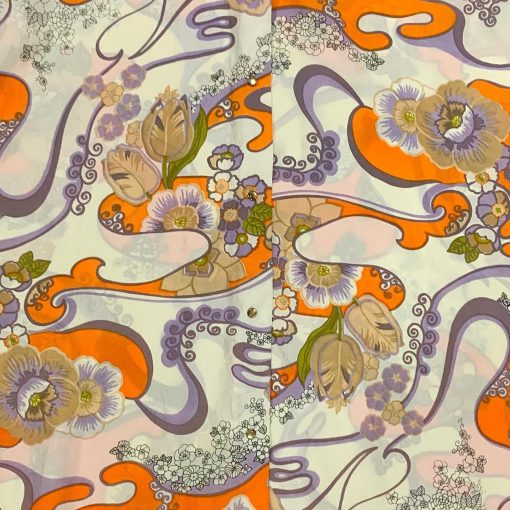 Vintage Evelyn Pearson psychedelic floral housecoat, detail
