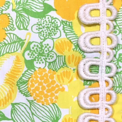 Vintage Lilly Pulitzer fruit print longsleeve maxi dress, detail