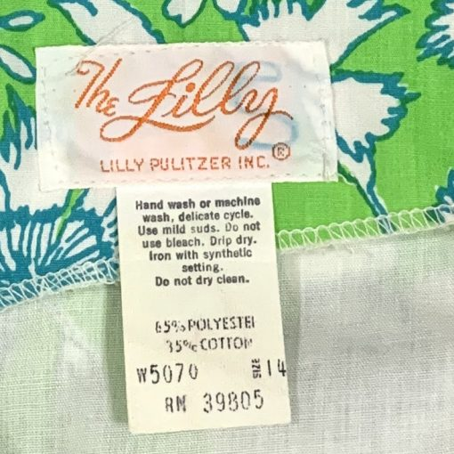 Vintage Lilly Pulitzer green & blue floral maxi dress, detail
