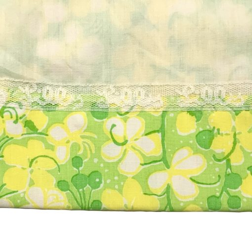 Vintage Lilly Pulitzer green & yellow floral dress, detail
