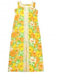 Vintage Lilly Pulitzer orange, yellow, green floral maxi dress