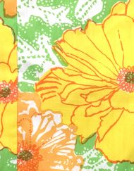 Vintage Lilly Pulitzer orange, yellow, green floral maxi dress, detail