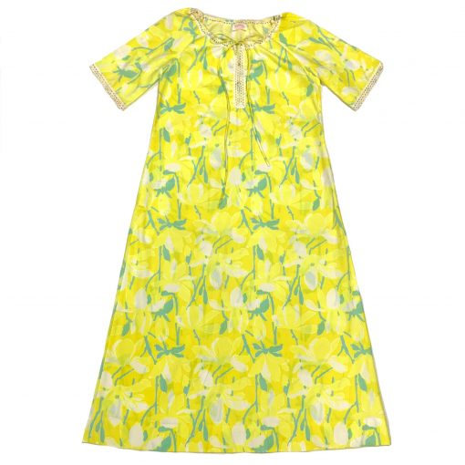 Vintage Lilly Pulitzer yellow floral maxi dress