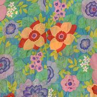 Vintage Stella Fagin textured floral housecoat, detail